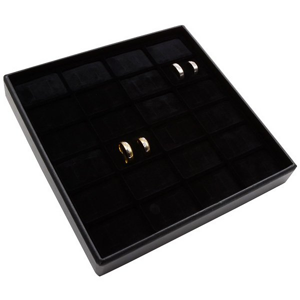 Medium tableau voor 24 paar trouwringen Zwarte Partitie / Zwarte Foam Insert 235 x 235 x 28 Insert: 51x33x10 mm