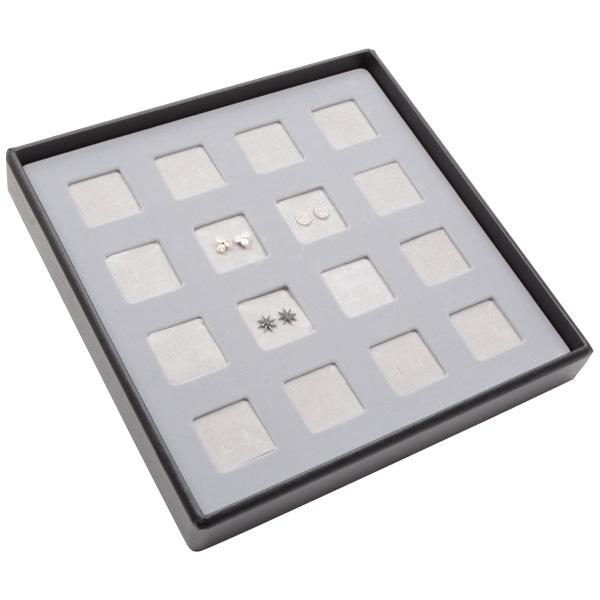 Medium tableau voor 16x oorsieraden/hanger Lichtgrijze Partitie / Lichtgrijze Foam Insert 235 x 235 x 32 Insert: 32x32x10 mm