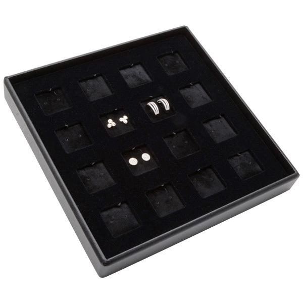 Medium tableau voor 16x oorsieraden/hanger Zwarte Partitie / Zwarte Velours Insert 235 x 235 x 32 Insert: 32x32x6 mm