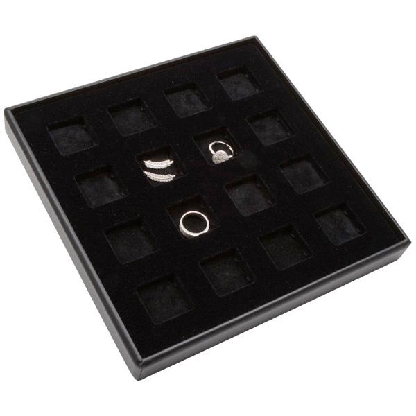 Moyen plateau présentation : 16x poche universel Plateau noir / Intérieur mousse noire 235 x 235 x 28 Insert: 32x32x4 mm
