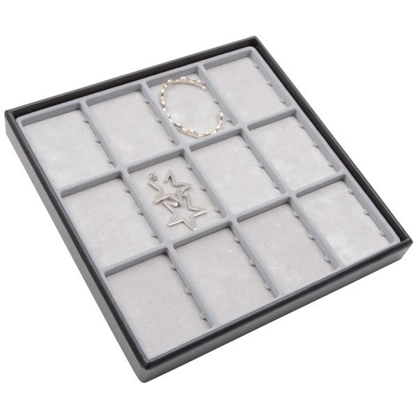 Medium tableau met 12 universele vakjes Lichtgrijze Partitie / Lichtgrijze Foam Insert 235 x 235 x 28 Insert: 70x51,9x4 mm