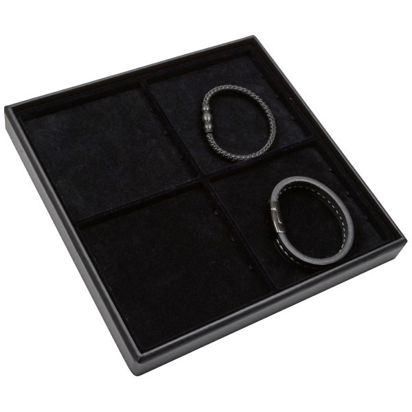 Medium tableau met 4 universele vakjes Zwarte Partitie / Zwarte Foam Insert 235 x 235 x 28 Insert: 106,6x106,6x4 mm