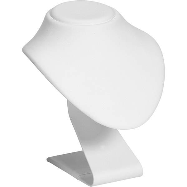 Présentoir à bijoux: Buste à pied haut, taille M Gainé similicuir blanc 135 x 155