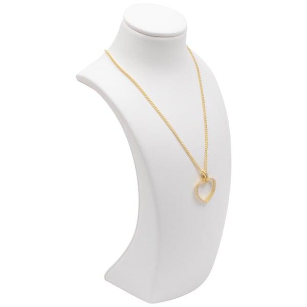 Présentoir mince pour collier, petit modèle Gainé façon similicuir blanc 170 x 80