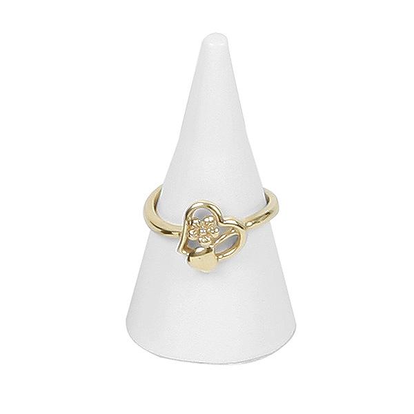 Présentoir à bijoux: Cône pour bague, petit Bois laqué blanc 23 x 45