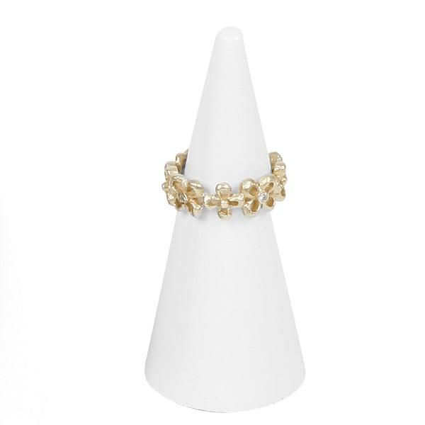 Présentoir à bijoux: Cône pour bague, grand Bois laqué blanc 30 x 70