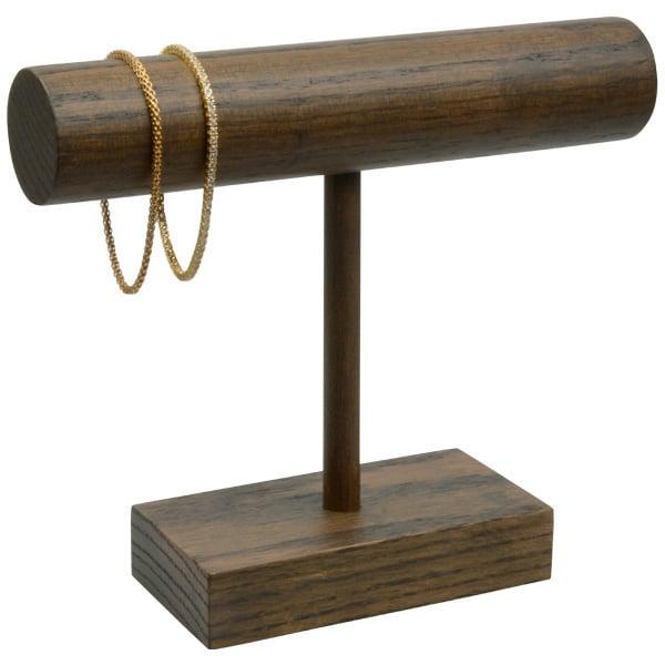 Display voor Armbanden, T-vorm Massief hout, donker gebeitst 200 x 175
