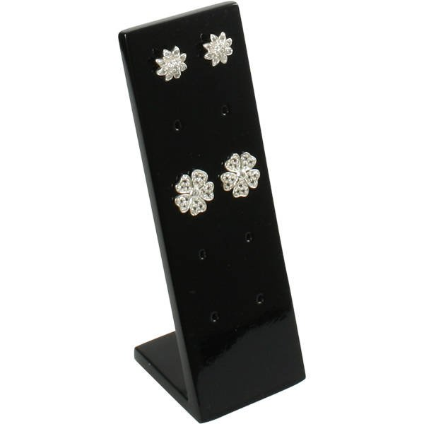 Display voor 5 paar oorstekers Hoogglans gelakt hout, zwart 36 x 110 x 36