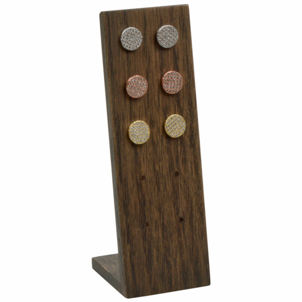Display voor 5 paar oorstekers Massief hout, donker gebeitst 36 x 110 x 36