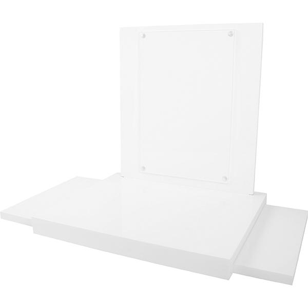 Présentoir à bijoux avec fenêtre en plexi, grand Bois brillant blanc avec vitrine acryllique 350 x 300 x 330