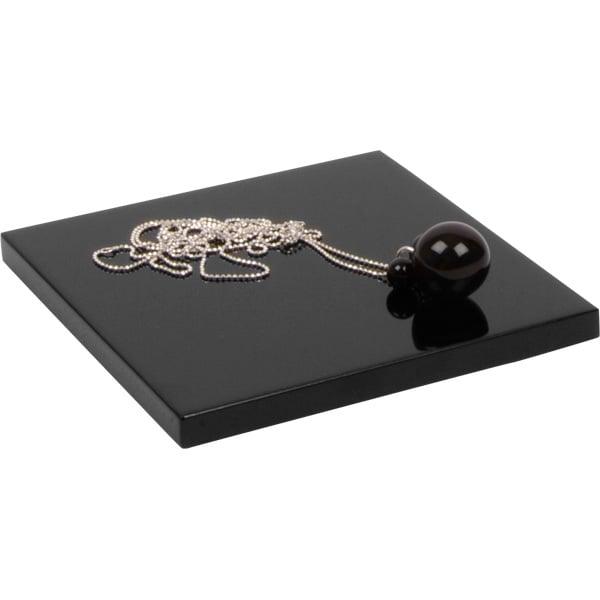 Bloc cubique de présentation pour bijoux, plat Bois laqué noir brillant 120 x 120 x 10