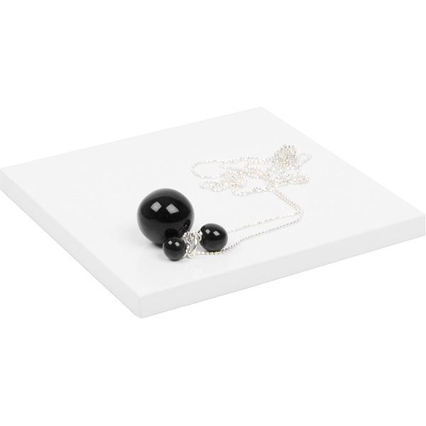Bloc cubique de présentation pour bijoux, plat Bois laqué blanc brillant 120 x 120 x 10