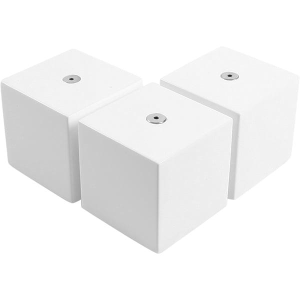 3x Bloc de présentation multifonctionnels, petits Bois laqué blanc / chrome