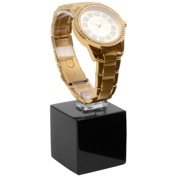 Displayzuil voor horloge, klein Hoogglans gelakt hout, zwart 40 x 40 x 40