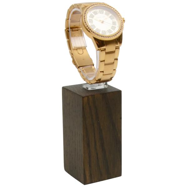 Displayzuil voor horloge, groot Massief hout, donker gebeitst 40 x 40 x 80
