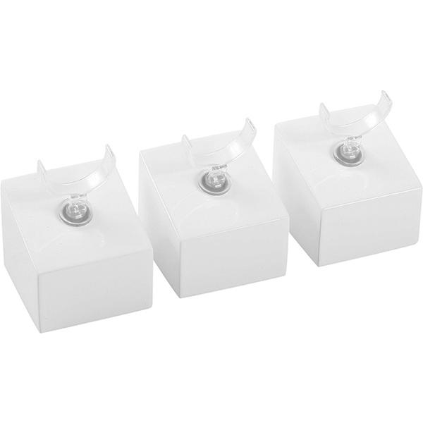 Displayzuil met klemmetje voor ring, klein Hoogglans gelakt hout, wit 33 x 33 x 30