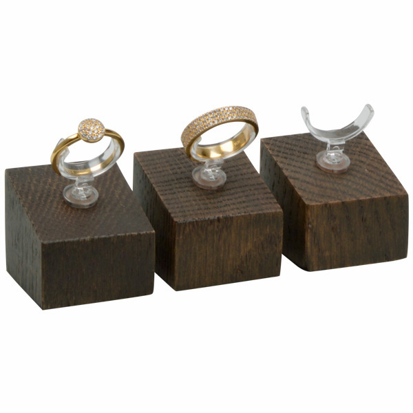 Displayzuil met klemmetje voor ring, klein Massief hout, donker gebeitst 33 x 33 x 30