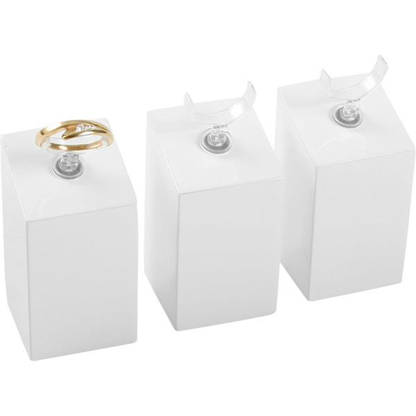 Displayzuil met klemmetje voor ring, medium Hoogglans gelakt hout, wit 33 x 33 x 60