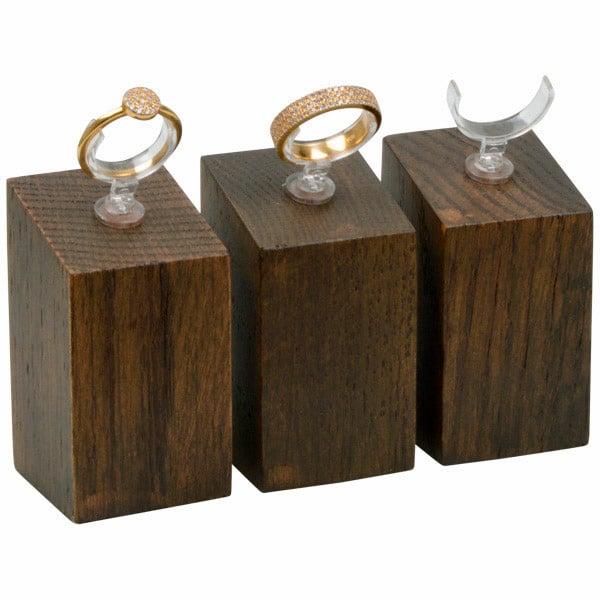 Displayzuil met klemmetje voor ring, medium Massief hout, donker gebeitst 33 x 33 x 60