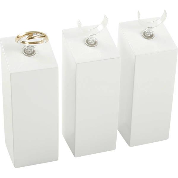 Displayzuil met klemmetje voor ring, groot Hoogglans gelakt hout, wit 33 x 33 x 90