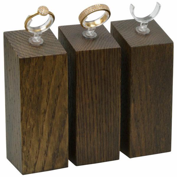 Displayzuil met klemmetje voor ring, groot Massief hout, donker gebeitst 33 x 33 x 90