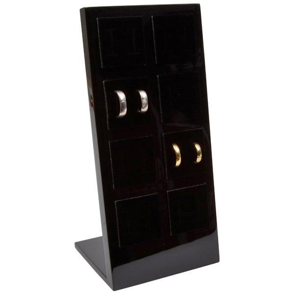 Display voor 8 paar trouwringen Hoogglans gelakt hout, zwart/ zwart foam 110 x 238 x 92