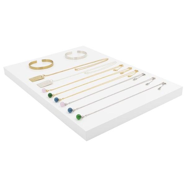 Plateau de présentation bijoux, petit Bois laqué blanc 350 x 250 x 20