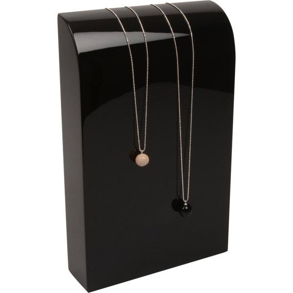 Halsje voor collier of ketting, groot Hoogglans gelakt hout, zwart 170 x 270 x 50