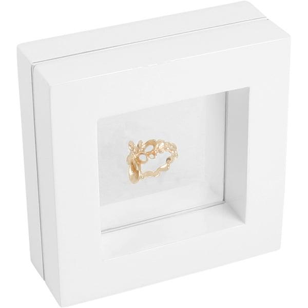Cadre vitrine à fenêtre en silicone, petit Bois laqué blanc 110 x 110 x 40