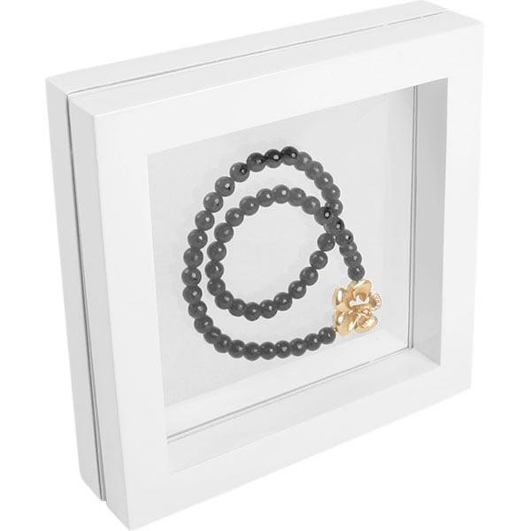 Cadre vitrine à fenêtre en silicone, moyen Bois laqué blanc 180 x 180 x 40