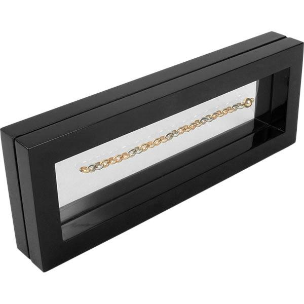 Sieradendisplay met siliconenvenster, langwerpig Zwart hoogglans gelakt hout 110 x 300 x 40