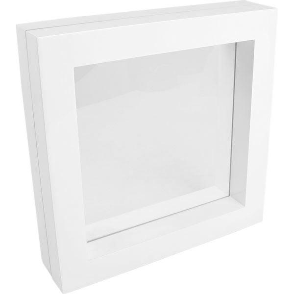 Cadre vitrine à fenêtre en silicone, grand Bois laqué blanc 260 x 260 x 60