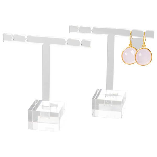 T-vormige Display voor Oorsieraden, klein Transparant acryl 95 x 85 x 30