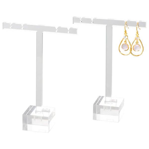 T-vormige Display voor Oorsieraden, groot Transparant acryl 120 x 85 x 30