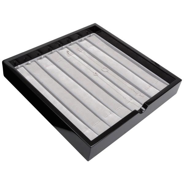 Tableau voor 8x armband, met elastiek Zwart hoogglans hout/ Grijze velours cartouches 241 x 241 x 38