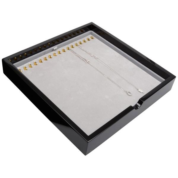 Tableau voor 17x ketting, op haakjes Zwart hoogglans hout/ Grijze velours cartouches 241 x 241 x 38