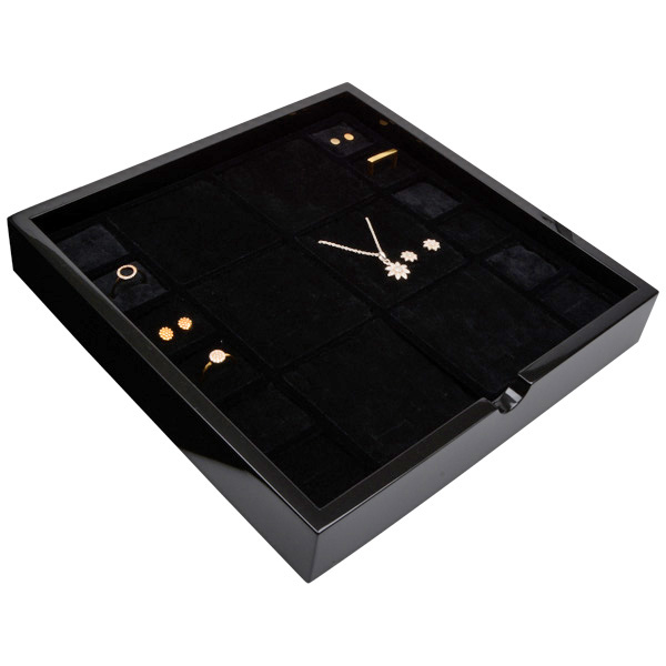 Tableau voor meerdere sets Zwart hoogglans hout/ Zwarte foam kussens 241 x 241 x 38