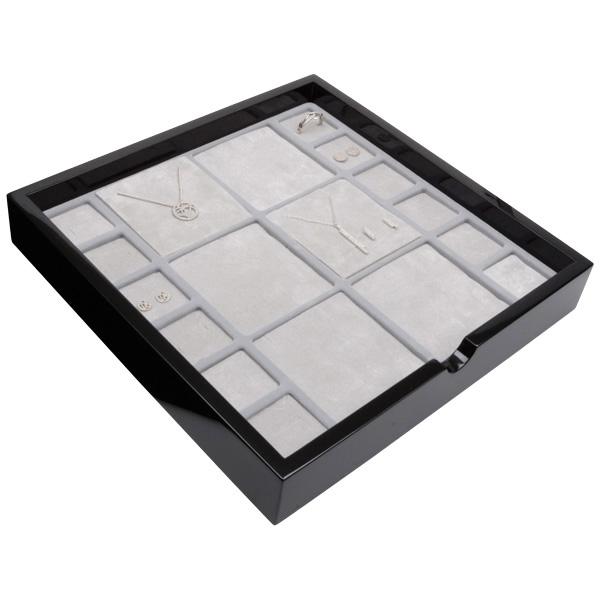 Tableau voor meerdere sets Zwart hoogglans hout/ Grijze foam kussens 241 x 241 x 38