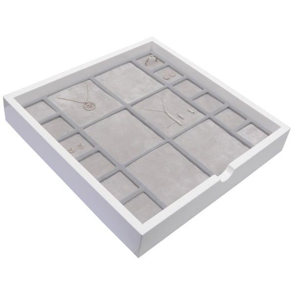 Tableau voor meerdere sets Wit hoogglans hout/ Grijze foam kussens 241 x 241 x 38