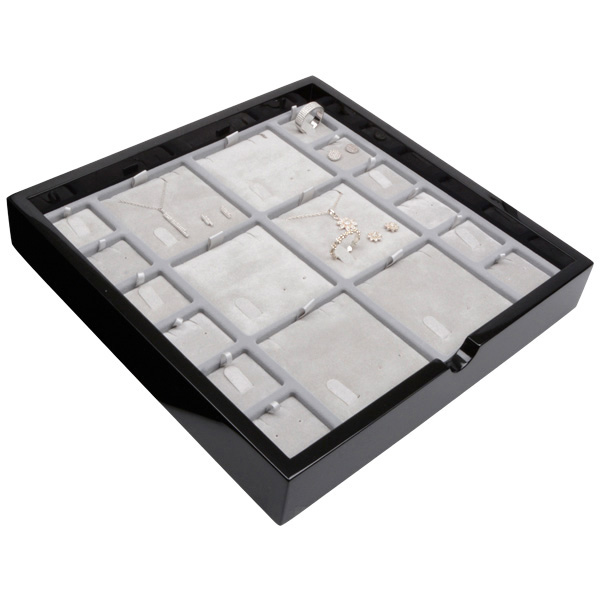 Tableau voor meerdere sets Zwart hoogglans hout/ Grijze velours cartouches 241 x 241 x 38