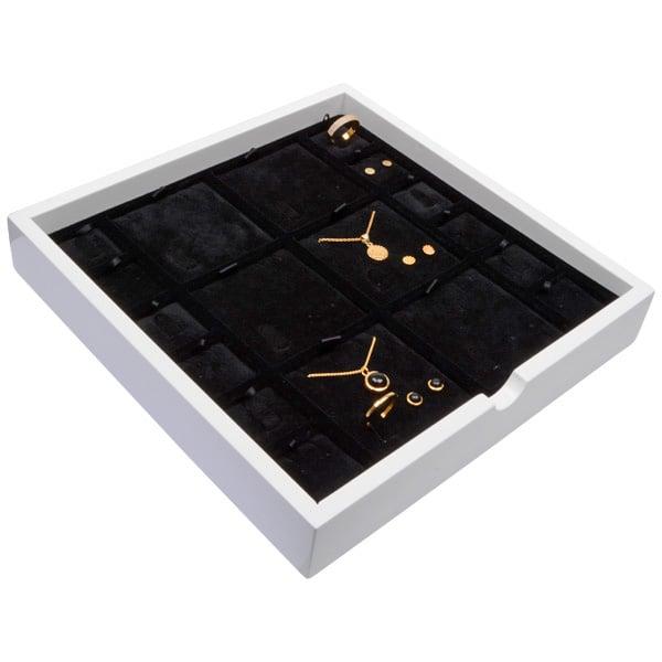 Tableau voor meerdere sets Wit hoogglans hout/ Zwarte velours cartouches 241 x 241 x 38