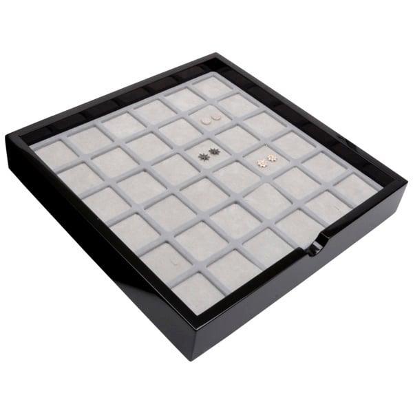 Tableau voor 36 paar oorsieraden Zwart hoogglans hout/ Grijze foam kussens 241 x 241 x 38