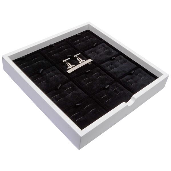 Tableau voor 12 paar manchetknopen/dasspeld Wit hoogglans hout/ Zwarte velours cartouches 241 x 241 x 38