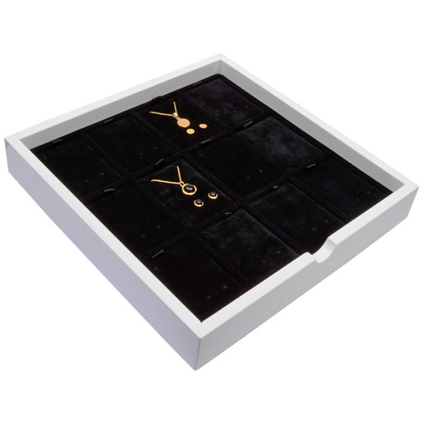 Tableau voor 12x sieradenset, staand Wit hoogglans hout/ Zwarte velours cartouches 241 x 241 x 38