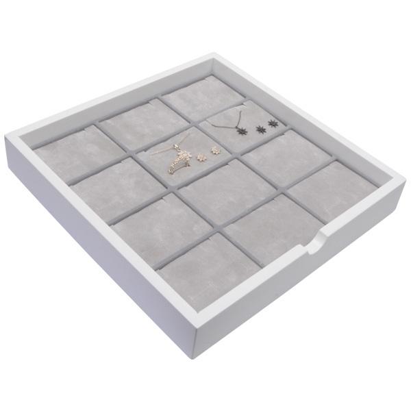 Tableau voor 12x sieradenset, liggend Wit hoogglans hout/ Grijze foam kussens 241 x 241 x 38