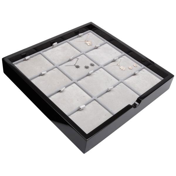 Tableau voor 12x sieradenset, liggend Zwart hoogglans hout/ Grijze velours cartouches 241 x 241 x 38