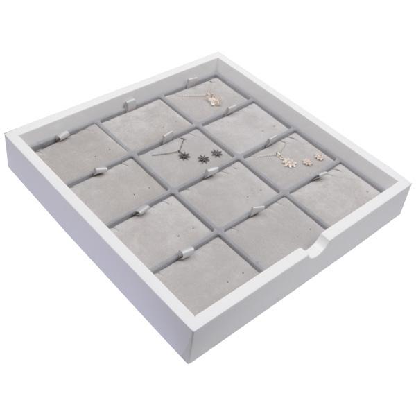 Tableau voor 12x sieradenset, liggend Wit hoogglans hout/ Grijze velours cartouches 241 x 241 x 38