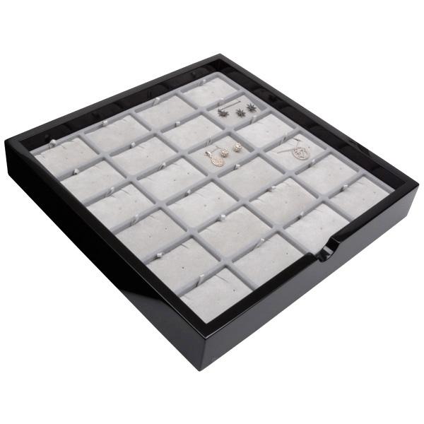 Tableau voor 24x sieradenset Zwart hoogglans hout/ Grijze velours cartouches 241 x 241 x 38