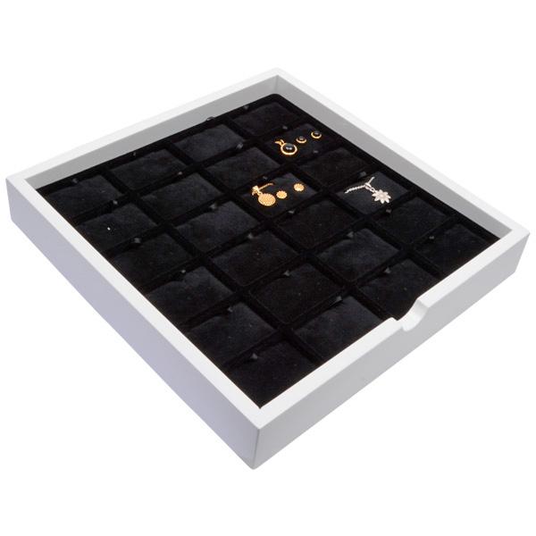 Plateau présentation: 24x parures 3 pièces Bois blanc lacqué/ Coussins en velours noir 241 x 241 x 38