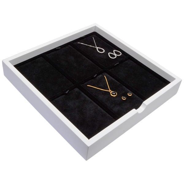 Tableau voor 6x sieradenset, staand Wit hoogglans hout/ Zwarte velours cartouches 241 x 241 x 38